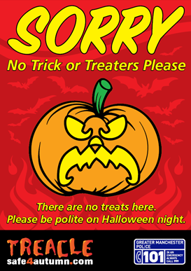 Sorry - No trick or treaters please poster