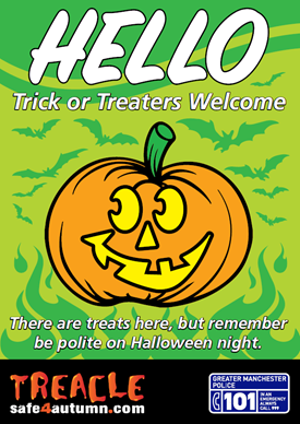 Hello - trick or treaters welcome poster