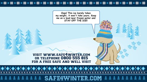 Safe4Winter Desktop wallpaper - carton dog with wholly hat and scarf with speech bubble -Stay off the ice